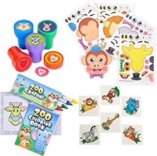 84 Piece Zoo Animal Party Favor Set- Coloring Books, Crayons, Stampers, Stickers, and Tattoos