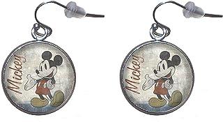 Pendientes de colgar de Acero, Diámetro 20mm, Hecho a Mano Ilustración Mickey Mouse Vintage