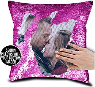 Family Photo Sequin Cushion Cover Custom Image Reversible Sequin Mermaid Pillowcase Birthday Decorative Pillow Gift Halloween (Rose Red+Single Side)
