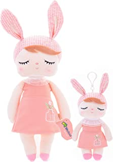"Baby Doll Girl Gifts Bunny Super Soft Plush Rabbit Toys 13"" and 10'' 2pcs Set with Gift Box (Orange)"