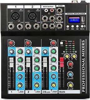 XPC Depusheng Professional 4 Channel 48V USB Portable DJ Mixer Bluetooth Live Studio Audio Sound Mixing Console Controller...