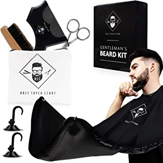 Beard Bib and Accessories for Shaving Men Set - Hair Apron Catcher with Strong Suction Cups-Stainless Steel Scissors for Precision Cutting-Beard Comb and Brush-Shaving and Trimming Gift-Portable Pouch