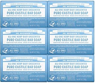 Dr. Bronner's - Pure-Castile Bar Soap (Baby Unscented, 5 ounce, 6-Pack) - Made with Organic Oils, For Face, Body and Hair,...