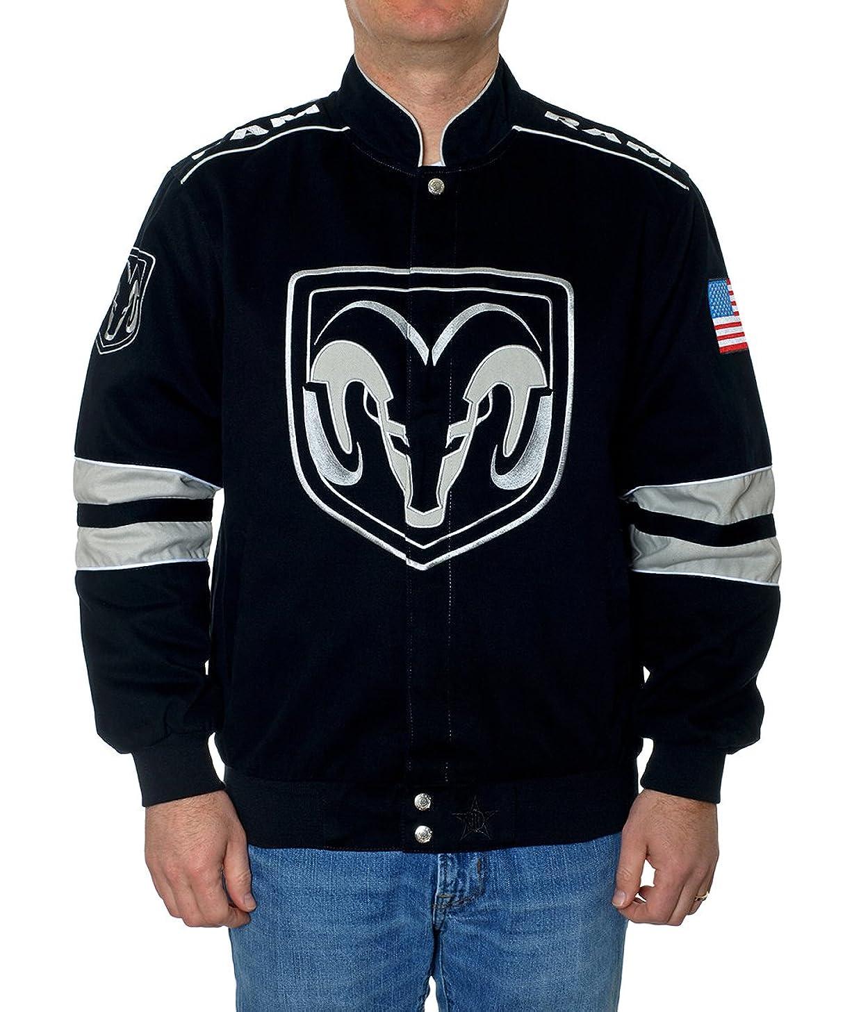 JH Design Men's Dodge Ram Truck Jacket an Embroidered Cotton Twill Coat