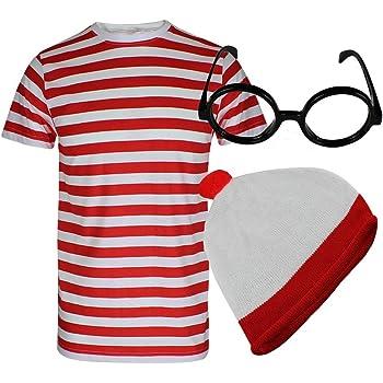 Global Fashion - Disfraz de Wally (camiseta de rayas rojas y ...