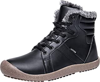bf80bf8a5fbb L-RUN Mens Winter Snow Booties Waterproof Outdoor Hiking Shoes Black 9 M US