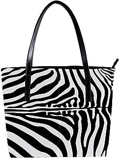 Lorvies - Borsa a tracolla in pelle di zebra, da donna, con borsa a tracolla