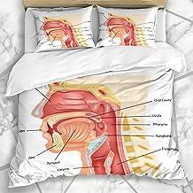 Soefipok Fundas nórdicas Juegos de cavidad Humano Aparato digestivo Anatomía Carácter Laringe Faringe Digestión Diseño Nasal Cuello Microfibra Ropa de Cama con 2 Fundas de Almohada