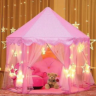 joylink Juego de Castillo, Princesa Interior Tiendas Tienda de Juego para niños al Aire Libre Portable Gran Playhouse con pequeñas Luces de Estrellas, 53 '' x 55 '' (DxH) (Rosado 2)