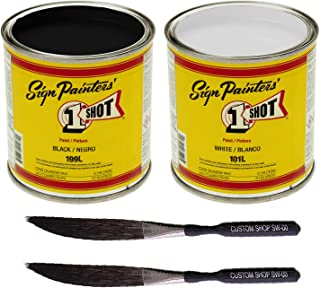 One Shot Color Kit White & Black With Pinstriping Touch-Up Brush