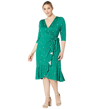 Kiyonna Flirty Flounce Wrap Dress (Green Confetti) Women