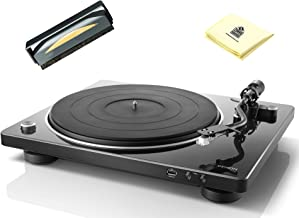 Denon DP-450USB HiFi Turntable with Built-in Phono Equalizer, One-Touch Recording, Original S-Shape Tonearm, Speed Sensor & USB Encoder Bundle with Turntable Cleaner Brush & Zorro Sound Cleaning Cloth