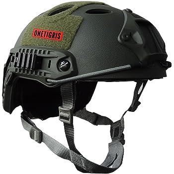 OneTigris ファストヘルメット fast PJタイプ エアソフトヘルメット 米軍風レプリカ装備 多目的 サバゲー・作業用など マウントレール付き かっこいい 軽量 ミリタリーグリーン