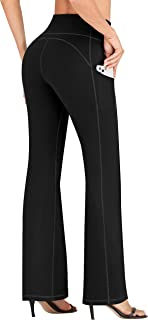 IUGA Bootcut Yoga Pants for Women with Pockets High Waisted Workout Pants Tummy Control Bootleg Work Pants for Women