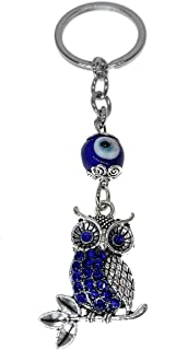 Smudge Muse Lucky Evil Eye Owl Keychain Ring, Handbag Charm with Rhinestone Crystals for Good Luck and Blessing, Great Gift