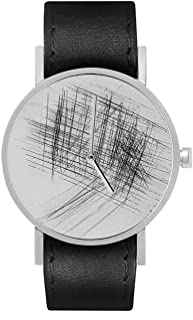 South Lane Stainless Steel Swiss-Quartz Watch with Leather Calfskin Strap, Black, 20 (Model: SS20-dr1-4601)