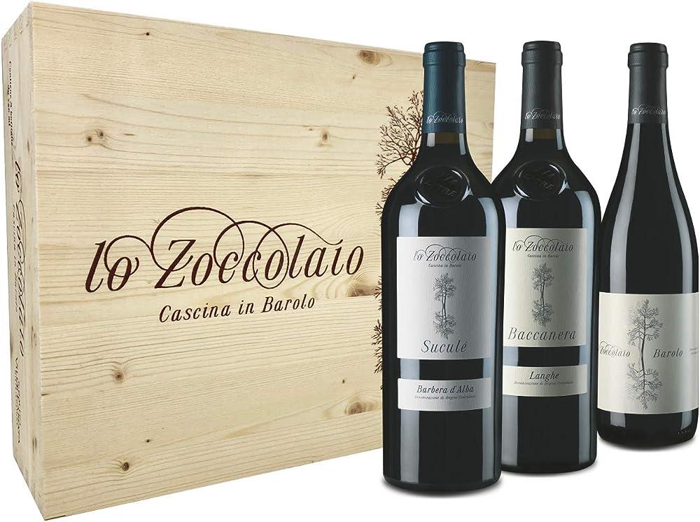 Lo zoccolaio cassetta legno con tre vini pregiati barbera d`alba+langhe rosso+barolo 0,75 ml KITB