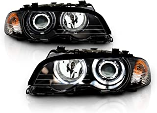 AmeriLite Projector Headlights. W/C. L. Halo Black for BMW 3 Series E46(M3) 2 Door - Passenger and Driver Side