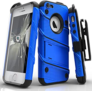 Zizo Bolt Series Compatible with iPhone SE Case Military Grade Drop Tested with Screen Protector Kickstand Holster Belt Clip iPhone 5s Blue Black