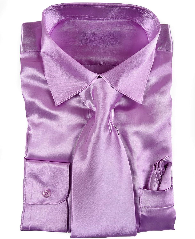 King Formal excellence Austin Mall Wear Classy Men's Shiny Dark Satin Shi Lavender