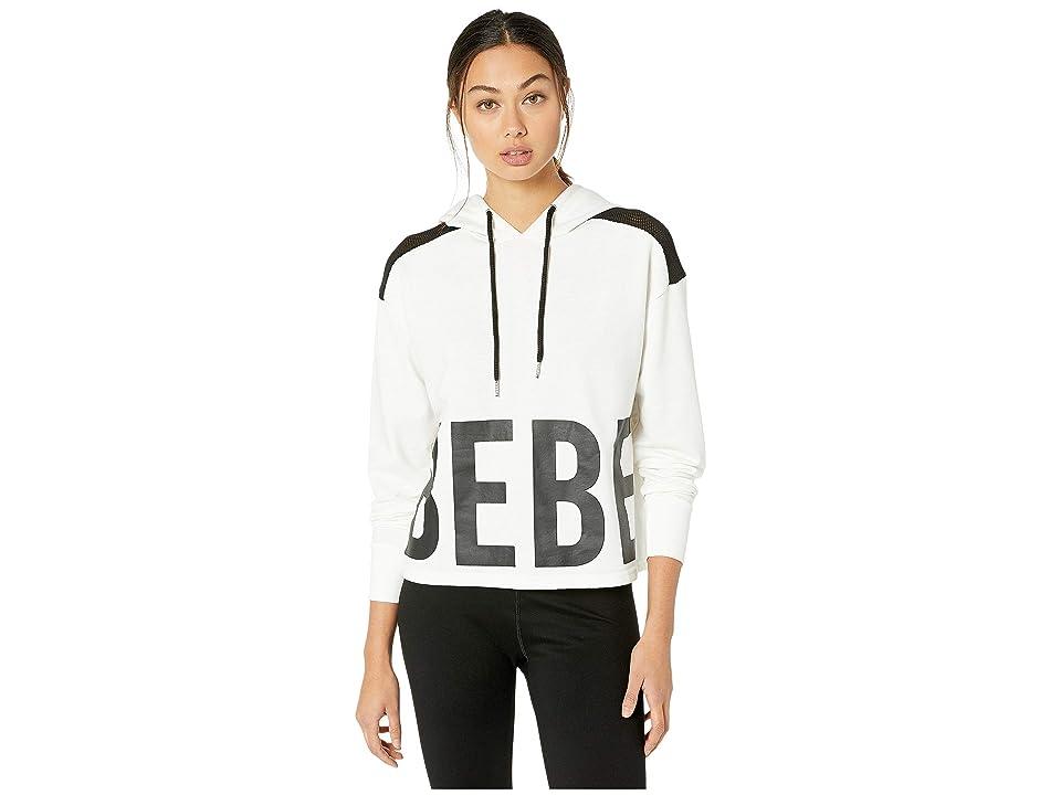 Bebe Sport Cropped Block Logo Pullover Hoodie (White) Women