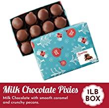 Fannie May Holiday Wrap Pixies, Milk Chocolate Covered Caramel with Pecans, Christmas Candy Gift Box, 1 Lb