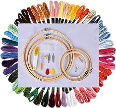 Stickerei Starter Kit, Basein Stickerei Set, Kreuzstich Tool Kit Einschließlich 5 Stück Bambus-Hoops, 50 Farbfäden, 12 von 18-Zoll 14 Count Classic Reserve Aida und Nadeln Set