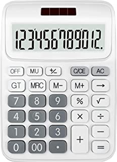 ONXE DC116 Standard Function Desktop Calculator with Dual Power Supply and 12-bit Large Display (White)