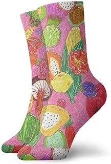 Fruta dibujada a mano Calcetines cortos transpirables Calcetines clásicos de algodón de 30 cm para hombres Mujeres Yoga Senderismo Ciclismo
