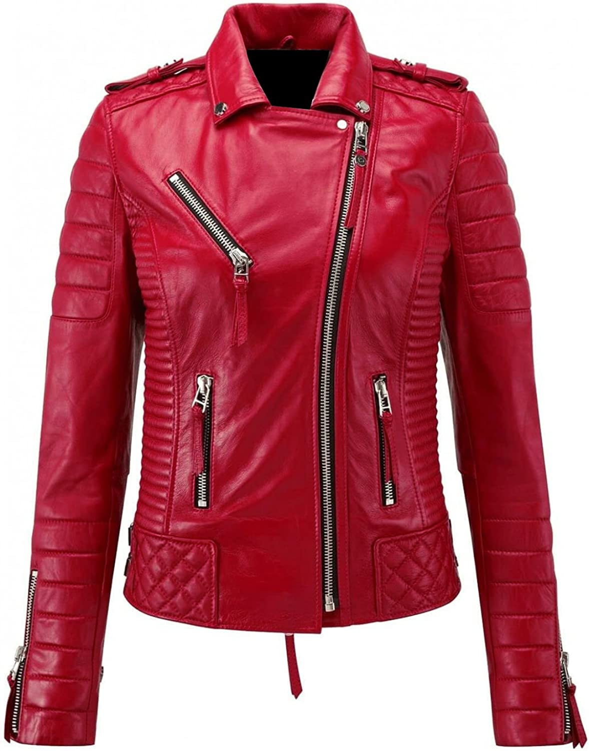Finest Collections Women Red Diamond Quilted Faux Leather Jacket