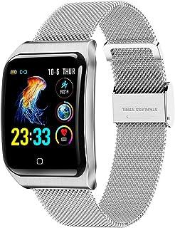 ZNMJW Reloj Inteligente, Pantalla táctil de 1,3 Pulgadas, Monitor de presión Arterial de frecuencia cardíaca, Soporte de recordatorio de Llamadas, Pulsera de Pasos Deportivos, Color Plata