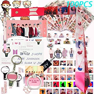 Fans Set , Map of the Soul Persona - 12 Sheet of Stickers, 40 Photo Card, 40 Members Cards, 3D Stickers, 1 Long Lanyard, 1 Finger Ring, 2 Key Chain, 1 Pen, 1 Tattoo Sticker