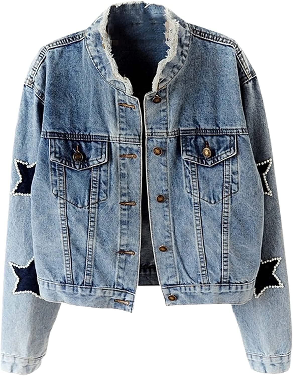 Hixiaohe Women's Casual Pearls Embroidered Denim Jacket Button Up Frayed Jean Coat