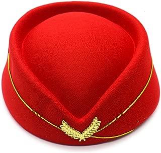 Pomeat Wool Felt Stewardess Hat Stewardess Cap Flight Attendant Hat for Costume Cosplay Costume Accessories-Red