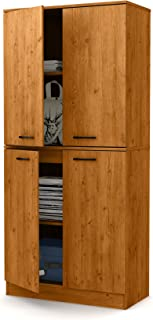 South Shore Axess Tall 4-Door Storage Cabinet with Adjustable Shelves, Country Pine