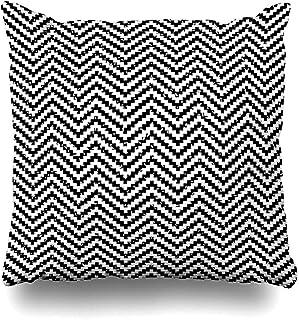 Snbin Funda de Almohada Funda de Almohada Vintage Negro Blanco Píxel Digital Abstracto Geométrico Gráfico Línea gráfica Funda de cojín Moderna