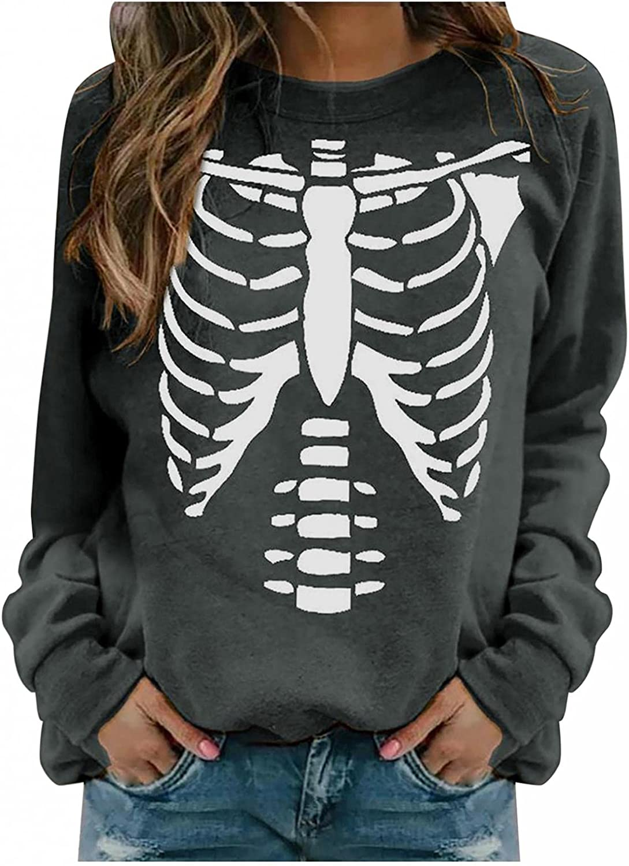 Women Halloween Skeleton Graphic Sweatshirts Pullover Crewneck Long Sleeve Shirts Casual Loose Tees Top