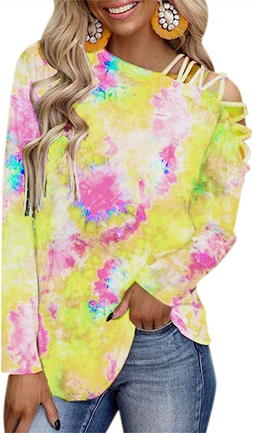 Nyybw Women's Tie Dye Long Sleeves T Shirt Loose Casual Blouses Sexy Cold Shoulder Strappy Tunic Tops Autumn Pullovers