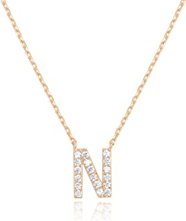 PAVOI 14K Rose Gold Plated Cubic Zirconia Initial Necklace | Letter Necklaces for Women