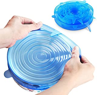 Silicone Stretch Lids, Durable & Eco-Friendly Elastic Lids Reusable Heat Resistant Various Sizes Cover for Bowl - 6 Pack (...