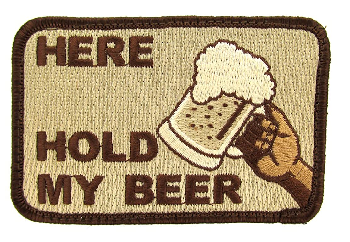 HERE HOLD MY BEER Morale Patch (Desert Tan)