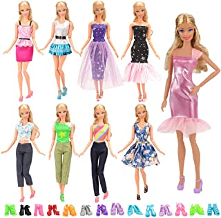 BARWA Lot 15 Items 5 Sets Fashion Casual Wear Clothes Outfit Handmade Party Dress with 10 Pair Shoes for 11.5 Inch Girl Doll Birthday Xmas GIF
