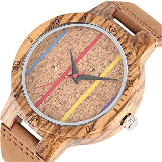 Handmade Nobby Rainbow Stripes Wood Watches Man Nature Bamboo Casual Wristwatch Genuine Leather Strap Sport Creative Gift