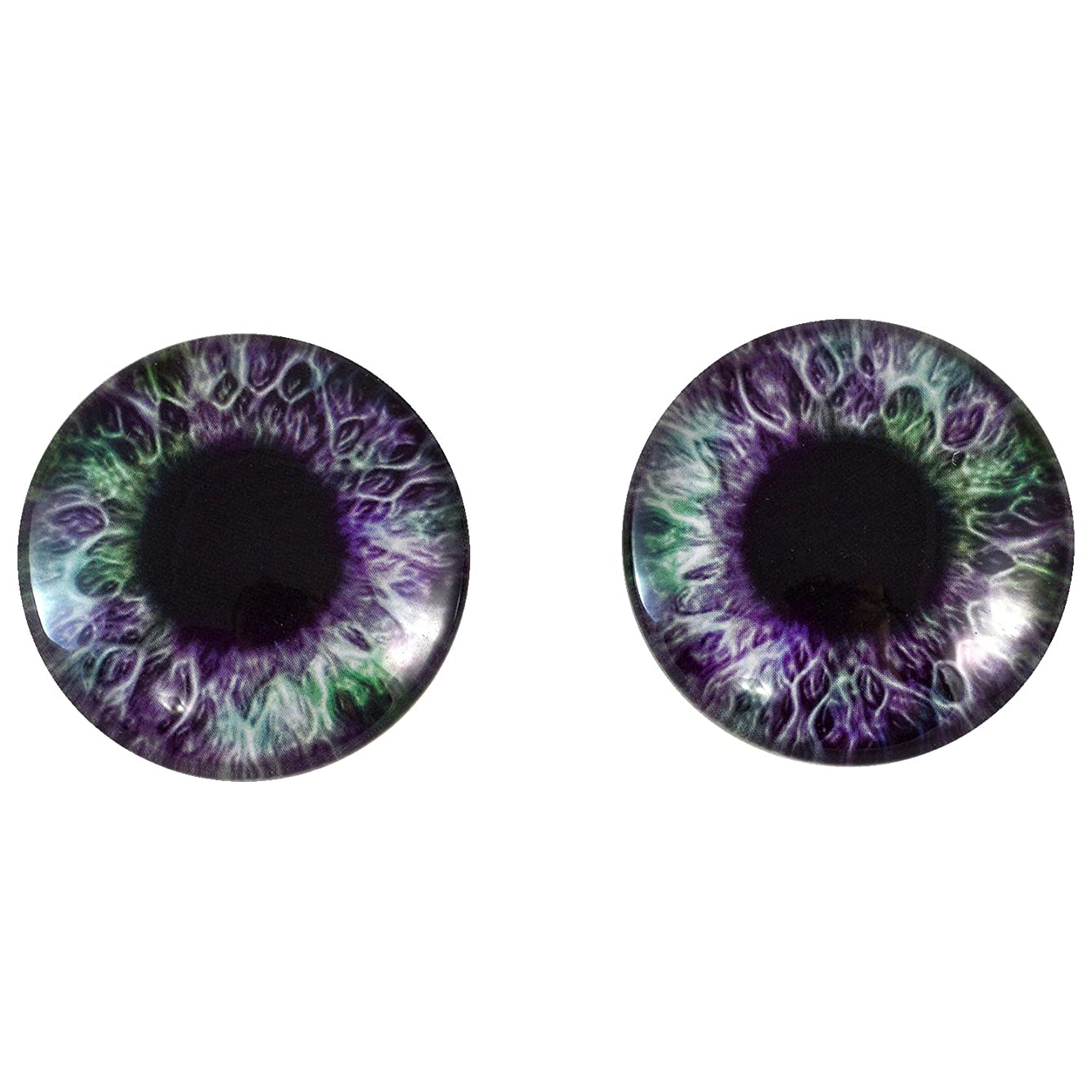 40mm Pair of Big Purple and Green Glass Eyes, for Jewelry Making, Arts Dolls, Sculptures, and More