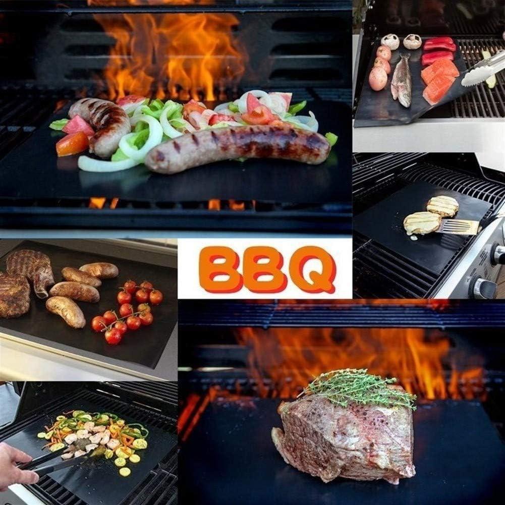 Yg-ct 1pc BBQ Grill Mat Barbecue de cuisson antiadhésif Teflon Réutilisable de cuisson plaque 40 * 30cm for Party Grill Outils Mat, Q (Couleur : 1pcs) 2pcs