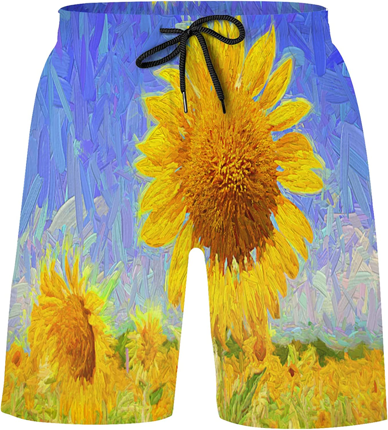 Beautiful Landscape of Blooming Sunflowers Field with Blue Sky Boys Volley Short Swim