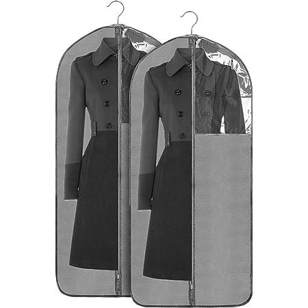 Jorlyen Housse de Vêtements Pliable Housse de Costume, 2 pcs Housse Protection pour Longue Robe, Vêtement, Manteaux avec Fenêtre Transparente et Anti-poussière Protection, 24 '' x 53 '' (135 x 60 cm)