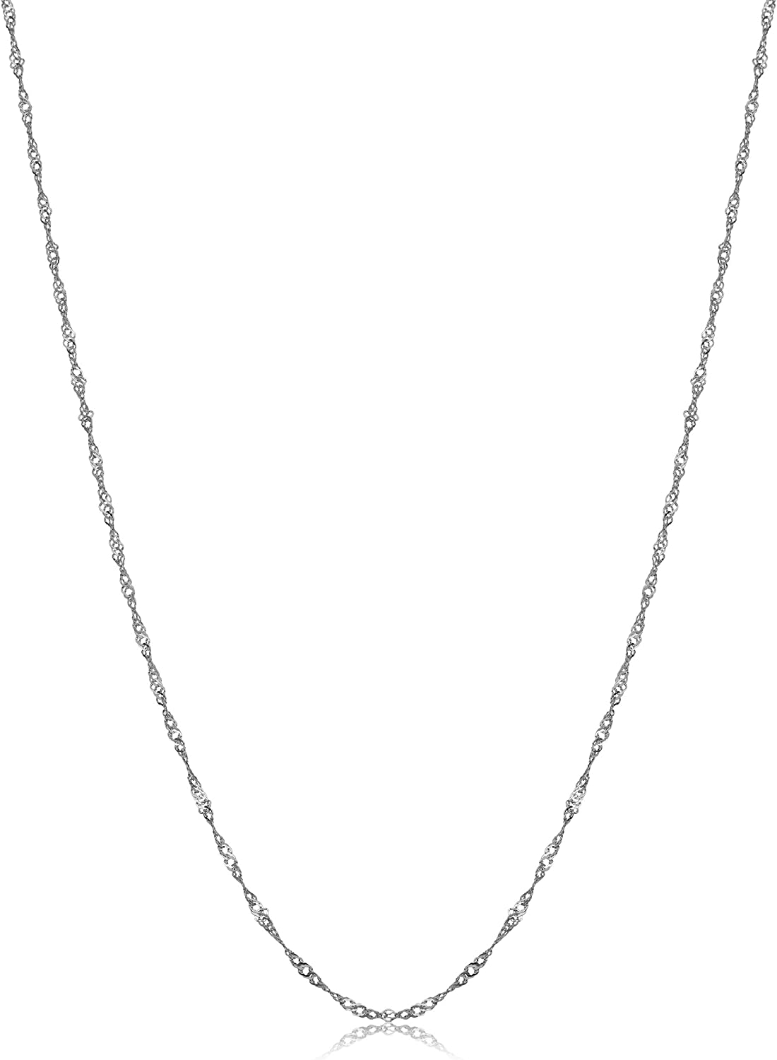 14k White Gold 0.9 mm Singapore Chain Necklace for Women
