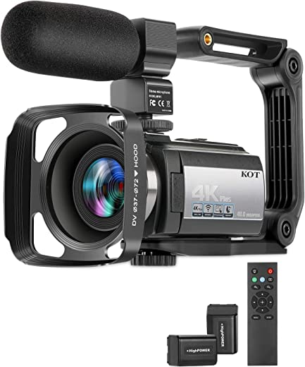 Video Camera Camcorder 4K 60FPS Ultra HD Digital WiFi Camera 16X Digital Zoom Recorder 48MP Night Vision with External Microphone, Remote Control, Lens Hood, Stabilizer