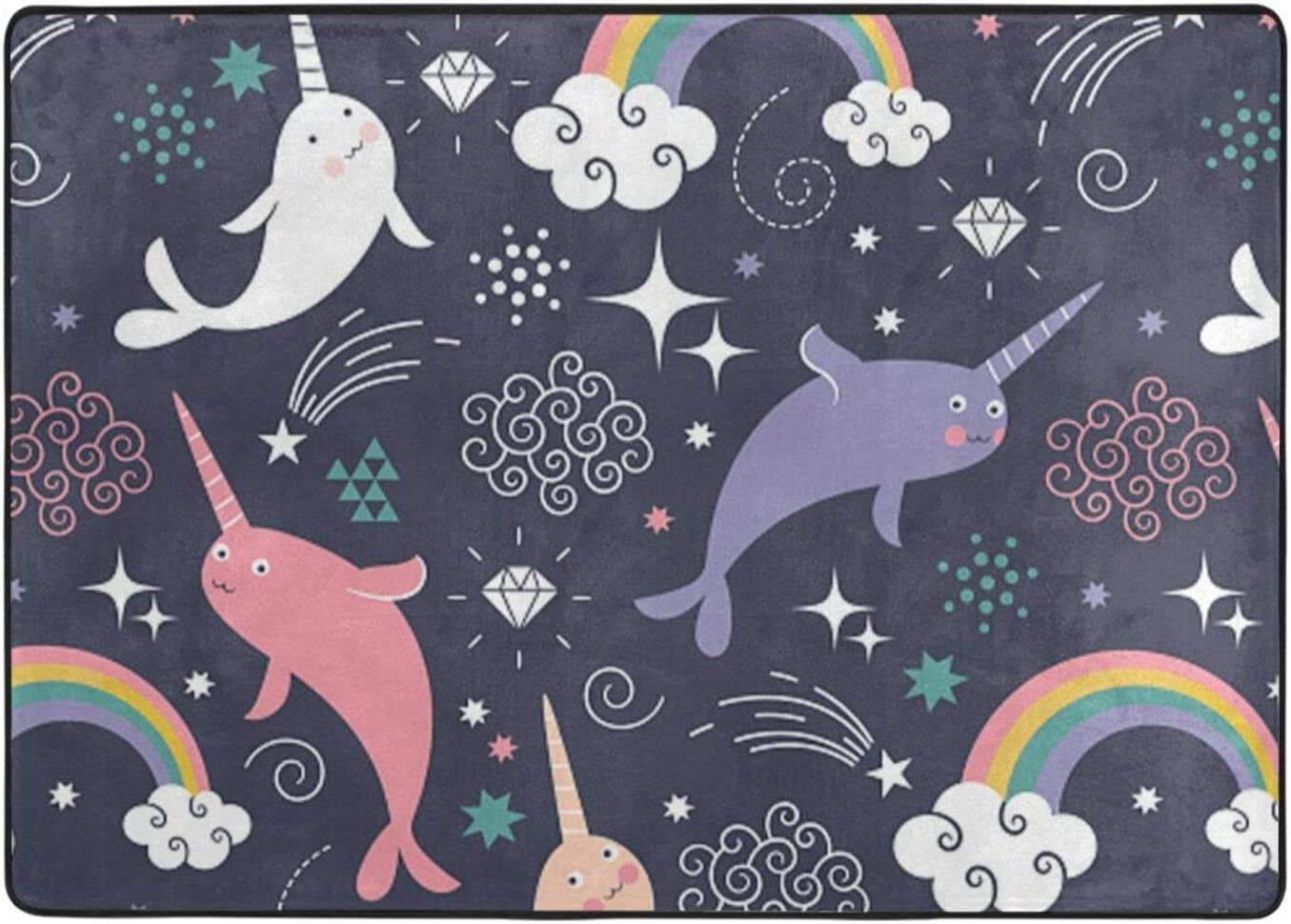 Cute New arrival Sea Animal Rainbow Printed Area Free shipping on posting reviews Room Bedroo Living Rugs for